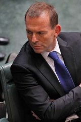 Tony Abbott during yesterday's showdown in which the PM was told she should resign.