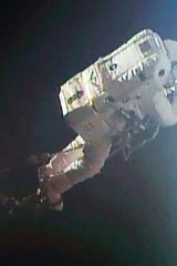 Calm before the storm: Luca Parmitano pictured on a July 9 spacewalk. His July 16 spacewalk ended with him fearing he would drown.o
