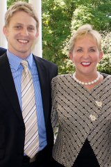 Ben Gommers, with his mother, Arts Minister Ros Bates.