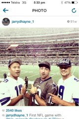 Jarryd Hayne posted Instagram pictures of himself at a Dallas Cowboys NFL game in July.