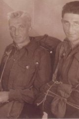 Jerry Rind and his father following liberation.