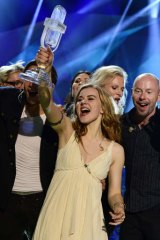 Triumph: Denmark's Emmelie de Forest exults in her victory in the 2013 Eurovision Song Contest.