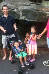 Gregoire Frecon, partner Na Huirhuma and their children Leo and Emma, with Abbi Dhaliwal.
