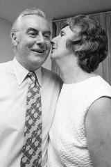 Gough Whitlam and Margaret Whitlam celebrating after his election win.