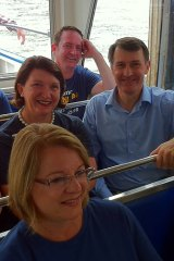 Lord Mayor Graham Quirk and some of his council team on board a single hull ferry on the Brisbane River today.