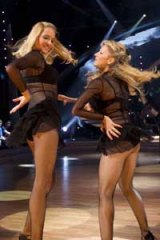 Gili Shem Tov and Dorit Milman dance during a dress rehearsal for the Israeli version of Dancing with the Stars.