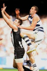 Trent West in action during the 2011 grand final against Collingwood at the MCG.