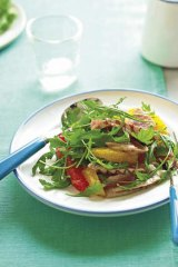 Chargrilled tuna steak with citrus salad.