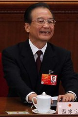 Positive... Wen Jiabao after delivering his speech.