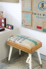 Recycled burlap stool by textile designer Julie Patterson.