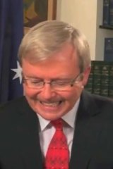 Furious ... Kevin Rudd in the video posted anonymously on YouTube.