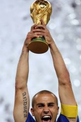 Fabio Cannavaro lifts the World Cup after the 2006 final.
