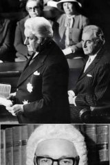 From top: Sir John Kerr (left) is sworn in as governor-general in 1974 with Gough Whitlam behind him; Sir Anthony Mason in 1972; Whitlam listens as Parliament is dissolved; <i>The Age</i>, November 12, 1975.