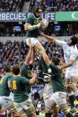 South Africa's Victor Matfield beats England's Tom Palmer in a lineout.