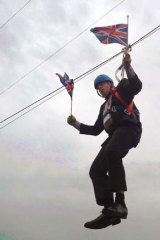 Another gaffe: Boris Johnson gets caught up during a stunt in London.