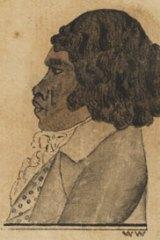 A portrait of Bennelong in London c1793, by William Waterhouse.