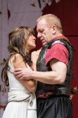 Clive Wood (Antony) and Eve Best (Cleopatra) in Shakespeare's Globe on Screen production of <i>Antony and Cleopatra</i>.