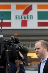Stephen Martino, director of the Maryland Lottery, speaks to reporters outside a Baltimore 7-11 store where one of the winning lottery tickets was sold
