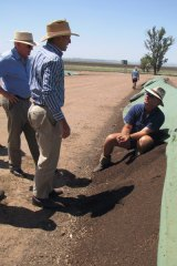 Carbon absorber ... Tony Abbott talks to local Cam McKellar about a Tamworth soil sequestration project.