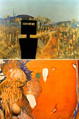 Sidney Nolan's <i>First-Class Marksman</i>, top; Brett Whiteley's <i>Little Orange Sunset</i>, centre; John Brack's Double Nude I (bottom).