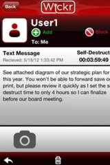 This screenshot of Wickr shows how a typical message appears.