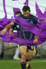 True leader: Storm skipper Cameron Smith will play his 250th game on Sunday night against Cronulla.