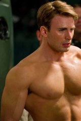 Beefed up ... Chris Evans as Captain America.