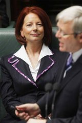 Question time: The then Deputy Prime MinisterJulia Gillard and Prime Minister Kevin Rudd at Parliament House in Canberra in June 2010.
