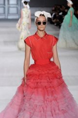 Ombre effect and 3D texture at Giambattista Valli.