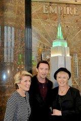 Hugh Jackman flanked by Foreign Minister Julie Bishop and Deborra-Lee Furness.