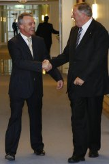 Brendan Nelson meets Kim Beazley before a meeting with Foreign Minister Stephen Smith.
