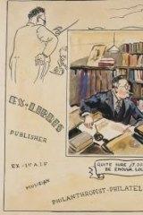 Bookplate (detail) caricature of Frank Johnson, circa 1945.