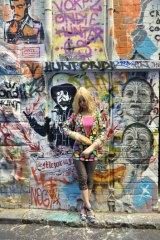 Japanese performance artist Baguette Bardot visits Hosier Lane.