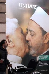 The now-removed Benetton advertisement showing Pope Benedict XVI kissing Egypt's Ahmed el Tayyeb.