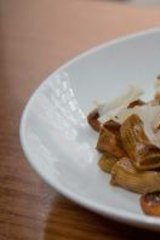 The rigatoni with black garlic, sage and parmesan at Pei Modern.