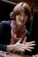 Journalist Geraldine Doogue in animated conversation as she enjoys lunch at Zucca Rosa in Prahran, Melbourne,