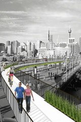 """An impression of the proposed """"High Line"""" redesign of the Monorail track."""