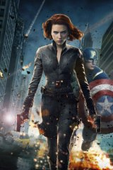Scarlett Johansson as the Black Widow and Chris Evans as Captain America in <i>The Avengers</i>.