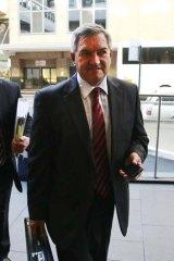 Kicker ... Tony Kelly outside the commission yesterday.