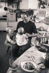 Close: John Olsen with children Tim and Louise at Watsons Bay, circa 1965.