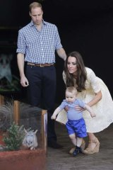 Prince William and Catherine, Duchess of Cambridge introduce their son Prince George to a Bilby - named George after him - at Taronga Zoo.