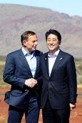 Australia's Prime Minister Tony Abbott and his Japanese counterpart Shinzo Abe.