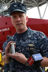 """Search mission: US Navy Captain Mark Matthews with an acoustic """"pinger"""", to be used in the hunt for flight MH370's black box."""