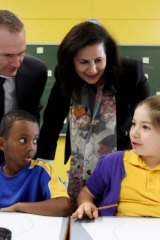 Senator Concetta Fierravanti-Wells with Adnan Issa and Taniqa Khoury at Hannans Road Public School.