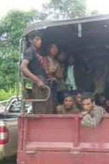 Rohingya on a Thai army truck last week.