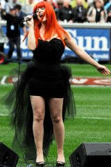 Melbourne singer Vanessa Amorosi performs at the AFL grand final.