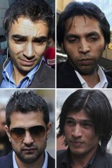Clockwise from top left: Salman Butt, Mohammad Asif, Mohammad Amir and Mazhar Majeed, all of whom were jailed yesterday.