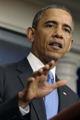 President Barack Obama speaks to reporters at the White House.