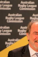 Plenty to smile about ... ARL Commission chief John Grant at yesterday's announcement.