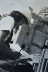 The author Junko Morimoto drawing as a young girl near what became the Hiroshima Peace Memorial.